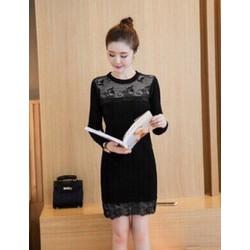 Đầm suông công sở phối ren - 43322