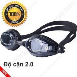 Kính bơi CẬN 2.0 độ mắt kính trong chống UV, chống hấp hơi POPO