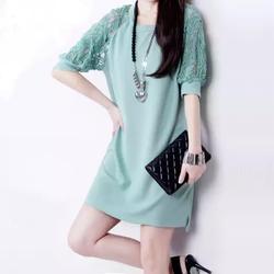 Đầm suông tay phối ren thời trang