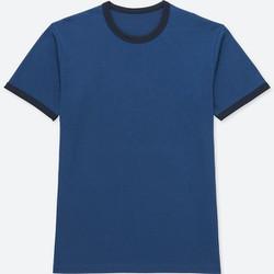 Áo T-Shirt cổ tròn viền cộc tay size M màu xanh