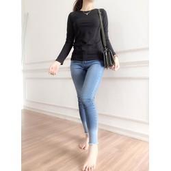 Áo thun nữ tay dài màu đen cotton bốn chiều