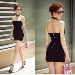 Đầm Ngọc Trinh ôm body kiểu cúp ngực kèm dây cổ thiết kế đơn giản