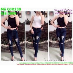 Quần jean nữ lưng cao rách gối 2 bên phong cách thời trang QJR237