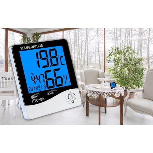 Máy đo độ ẩm nhiệt độ trong nhà có đèn  HTC-8A