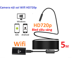 Camera nội soi phát Wifi chuẩn HD720p dài 5m