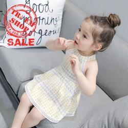 Váy yếm xoè in hoạ tiết siêu đáng yêu bé gái