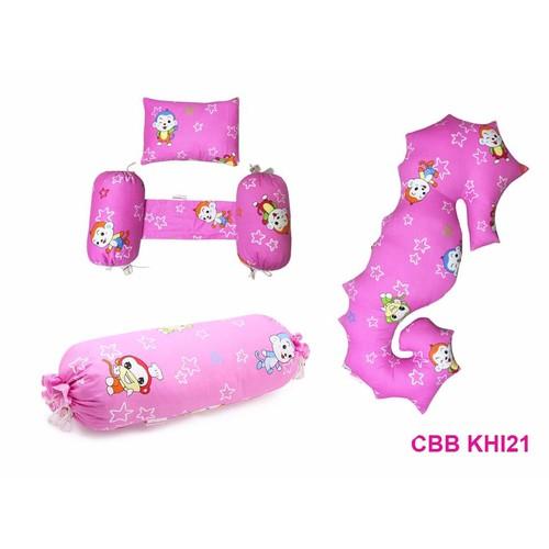Combo 3 sp: bộ gối chặn + gối ôm + gối ôm cá ngựa berry CBB KHI21