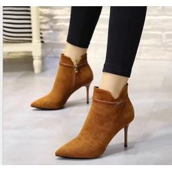 MÀU NÂU Giày boot cao gót da lộn dây khóa nhuyễn