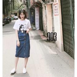Chân váy jean dài suông 903 đậm và nhạt