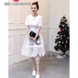 Đầm trắng nữ tuyết mưa phối ren VD845