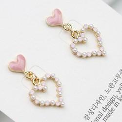 Bông tai tim nhỏ hồng và tim đính đá Hàn Quốc