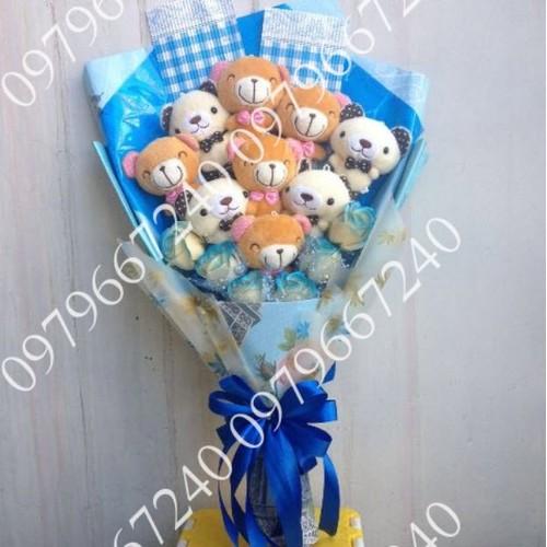 Hoa gấu bông tont xanh biển