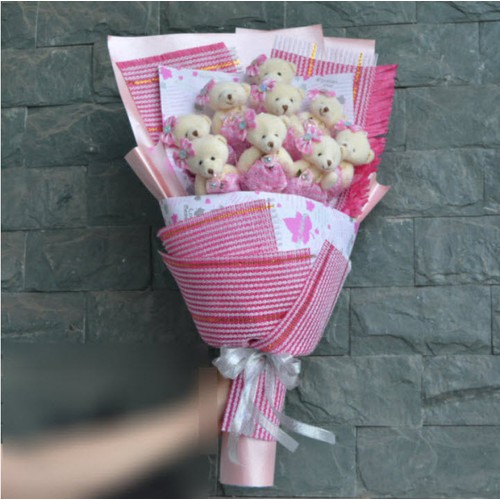 Hoa gấu bông tont hồng đáng yêu