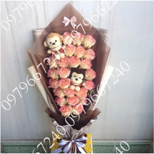 Hoa gấu bông sáp thơm + khỉ đôi