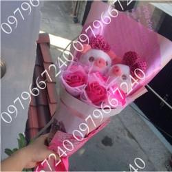 Hoa gấu bông heo hồng