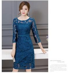 Đầm ren tay lỡ trung niên sang nhẹ-shop HOA TRANH-mã HT6