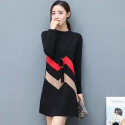 Đầm nữ zic zắc dài tay - D091