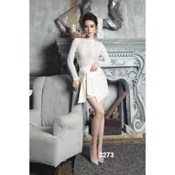 Đầm body trắng phối ren dài tay