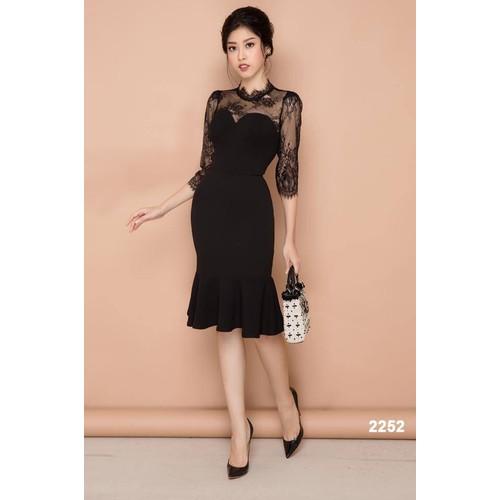Đầm body đen tay ren sang trọng