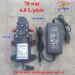 Bộ máy bơm tăng áp 70W 12 volt 6Lit tự động ngắt mới không ren