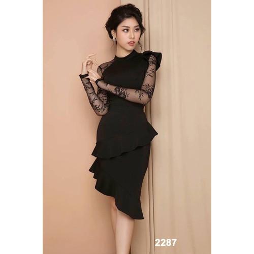 Đầm body đen phối ren