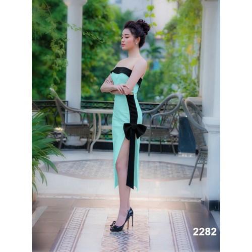 Đầm cúp ngực xanh phối đen