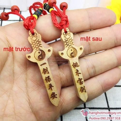 Móc chìa khóa hình cây kiếm gỗ