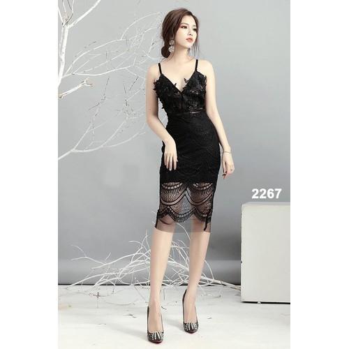 Đầm body hai dây ren 3D sang trọng