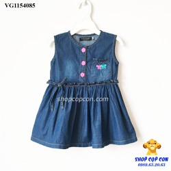 Size 1-8. Đầm jean nút hồng