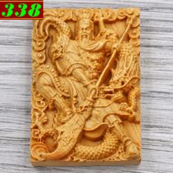 Mặt gỗ ngọc am khắc tượng Quan công MG128