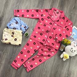 Freeship đồ bộ pijama kate tay dài hoạt hình S911