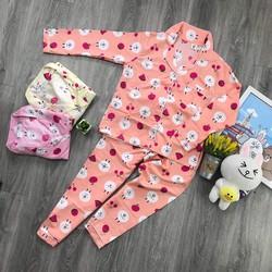 Freeship đồ bộ pijama kate tay dài hoạt hình S913