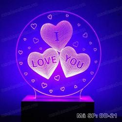 Quà valentine. Đèn 3D 16 màu có remote - I Love You - Valentine