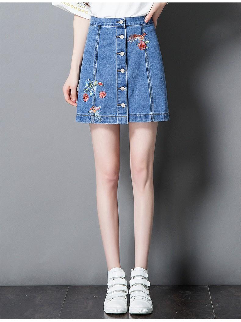 chân váy jean cài nút  thêu hoa TB0508 5