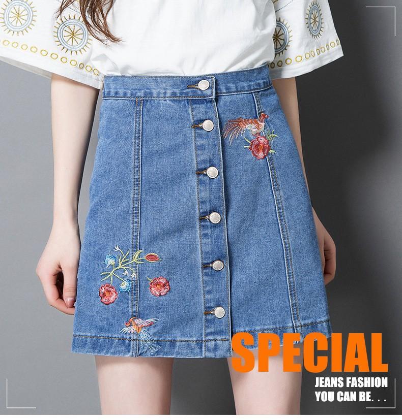 chân váy jean cài nút  thêu hoa TB0508 11
