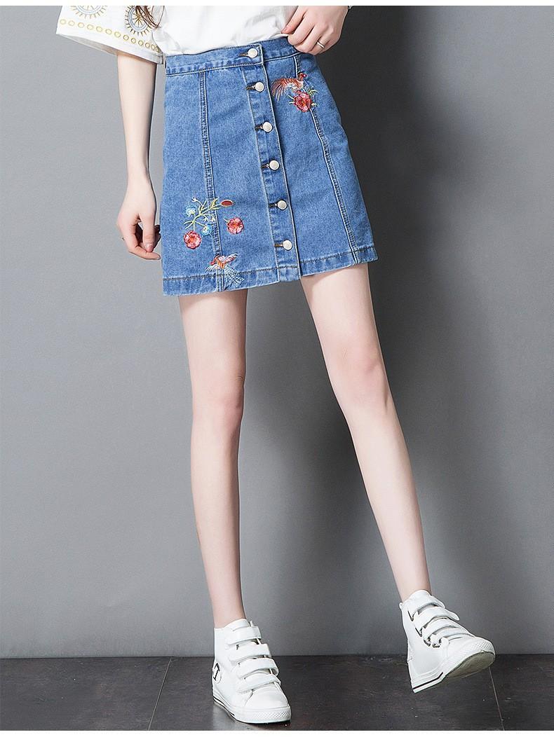 chân váy jean cài nút  thêu hoa TB0508 6