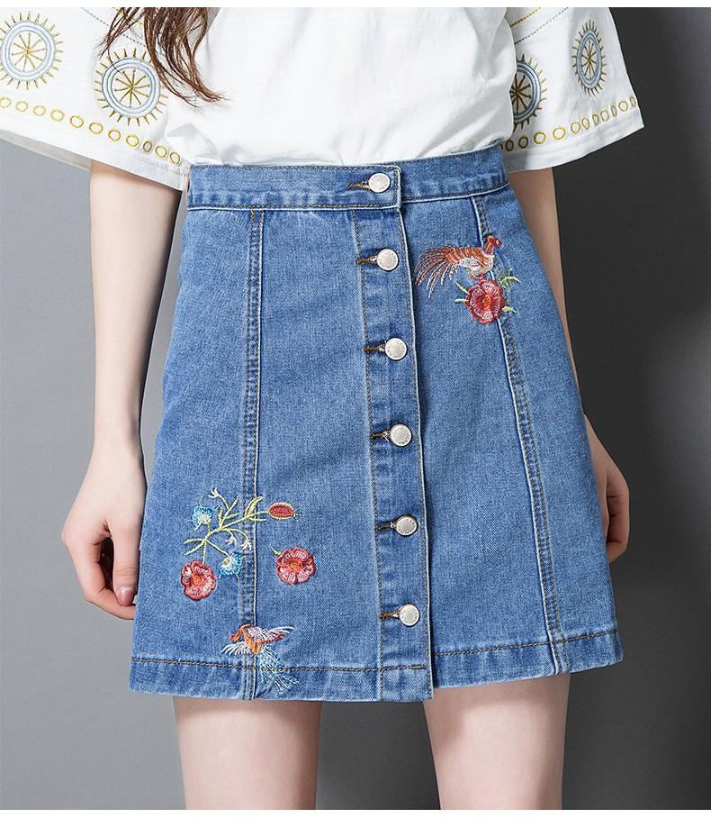 chân váy jean cài nút  thêu hoa TB0508 4
