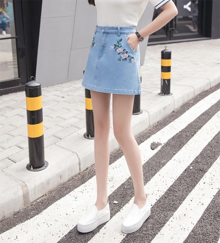 chân váy jean thêu hoa TB0507 6
