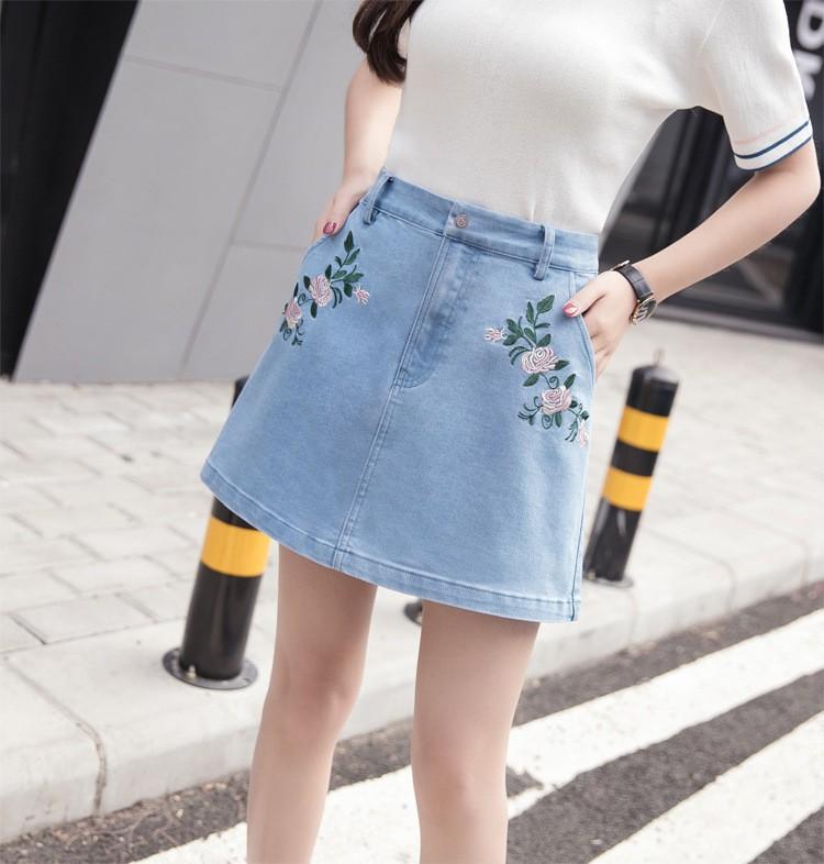 chân váy jean thêu hoa TB0507 11