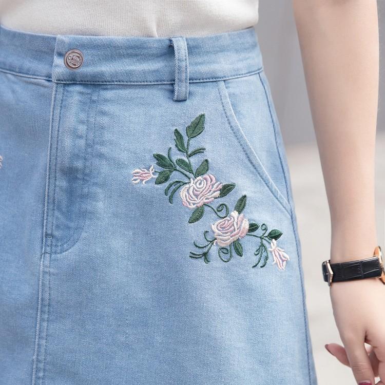 chân váy jean thêu hoa TB0507 16
