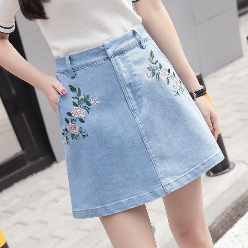 chân váy jean thêu hoa TB0507 14