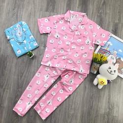 Freeship đồ bộ pijama kate dài hoạt hình S910