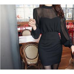 Đầm nữ phối voan bó eo gợi cảm, kiểu dáng thời trang, quyến rũ-D3034