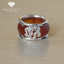 Nhẫn Nam Đá Đỏ Bọc Lông V oi Cao Cấp - Trang sức Bảo Tín