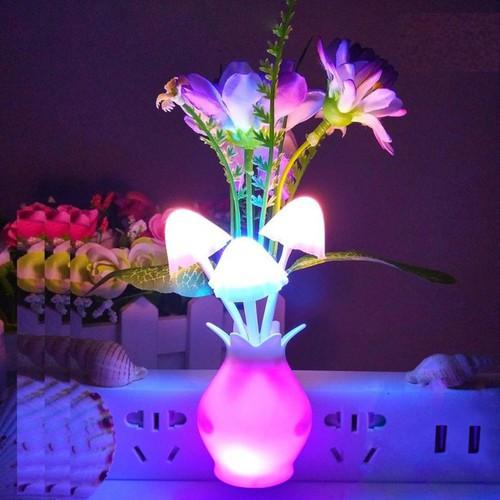 Đèn ngủ trang trí cảm ứng ánh sáng hình lọ hoa, nhiều mầu