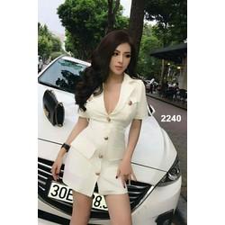 Đầm trắng giả vest sang trọng
