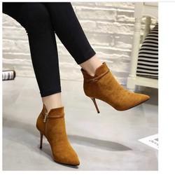 Giày boot cao gót da lộn dây khóa nhuyễn