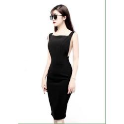 Đầm body đen hở lưng sexy