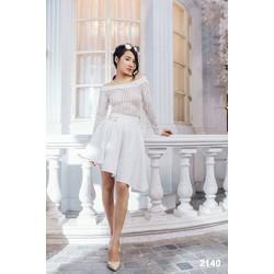 Đầm xòe trễ vai sọc trắng