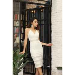 Đầm body trắng phối lưới sọc